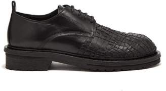 Ann Demeulemeester Web Embroidered Leather Derby Shoes - Mens - Black