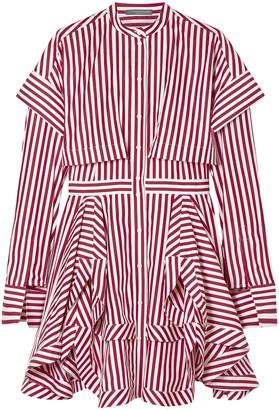 Alexander McQueen Layered Striped Cotton-poplin Mini Shirt Dress
