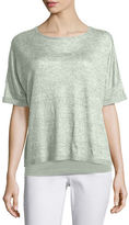 Eileen Fisher Short-Sleeve Delave Linen Top, Plus Size