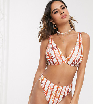 Peek & Beau Fuller Bust Exclusive recycled polyester underwired bikini top in tropical stripe DD-G