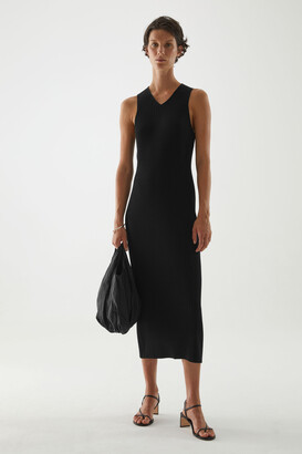 Cos V-Neck Ribbed Dress