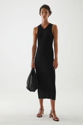 Cos V-Neck Ribbed Tube Dress