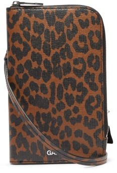 Ganni Leopard-print Leather Cross-body Pouch - Leopard