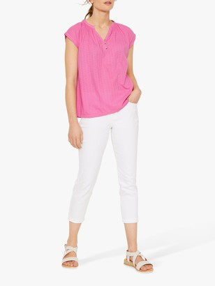 White Stuff Beach Break Abstract Print Top, Hot Pink