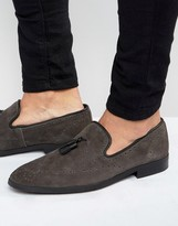 Asos Brogue Loafer In Gray Suede
