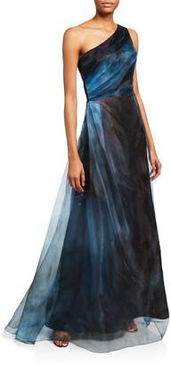 Rene Ruiz Collection Ombre Asymmetric One-Shoulder Sheer Gown