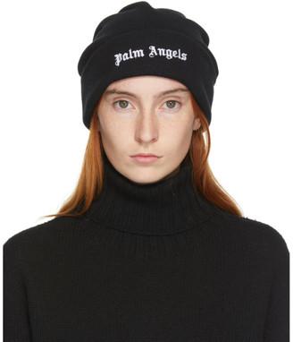 Palm Angels Black Wool Logo Beanie