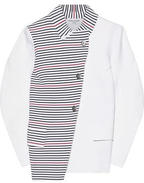 Sonia Rykiel Asymmetric Paneled Striped Ponte Jacket