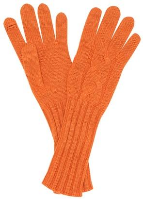 Loro Piana Courchevel cable-knit cashmere gloves