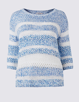 Per Una Cotton Blend Striped Round Neck Jumper