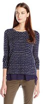 Lucky Brand Women's Polka Dot Printed Pullover Sweater
