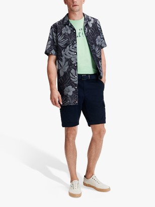 Tommy Hilfiger Floral Print Short Sleeve Revere Collar Shirt, Carbon Navy/White