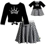 Dollie & Me Girls 4-14 Crown Knit Top & Plaid Skirt Set