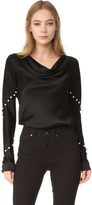 Prabal Gurung Long Sleeve Cowl Neck Blouse
