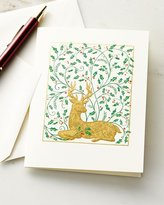 Caspari Reindeer and Holly Embossed Cards with Envelopes