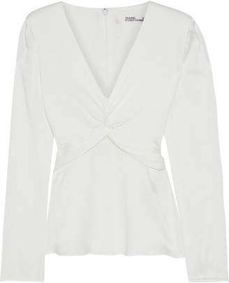 Diane von Furstenberg Eileen Twist-front Hammered Silk-blend Satin Top