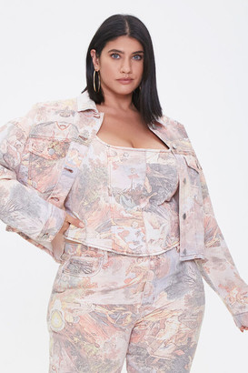 Forever 21 Plus Size Art Print Denim Jacket