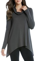 Karen Kane Women's Funnel Neck Jersey Handkerchief Hem Sweater