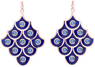 Selim Mouzannar Diamond Sapphire and Navy Enamel Scales Chandelier Earrings - Rose Gold