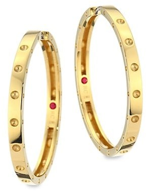Roberto Coin Pois Mois Large 18K Yellow Gold Hoop Earrings