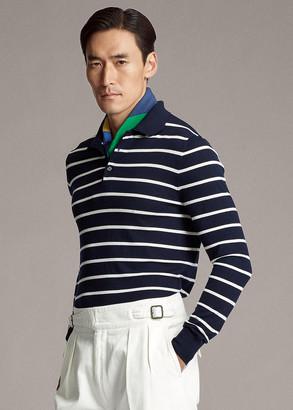 Ralph Lauren Striped Wool Polo-Collar Sweater