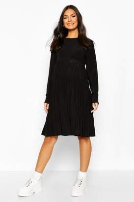 boohoo Maternity Slinky Tiered Smock Dress