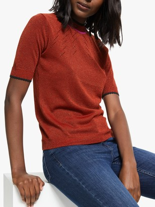 Nümph Golnat Short Sleeve Knitted Top, Red