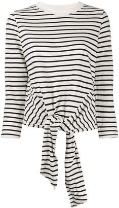 Current/Elliott Tie Front Striped Sweatshirt