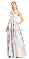 Aidan Mattox Marbled Box Pleated A-line Evening Dress