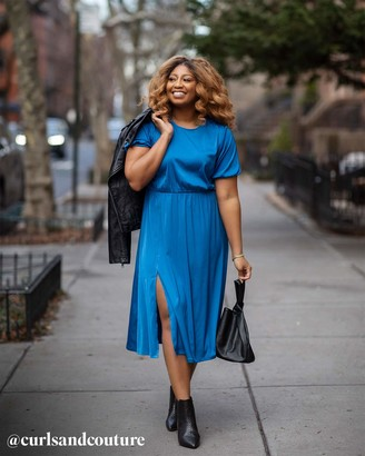 The Drop Women's Classic Blue Front Slit Midi Dress by @amazonthedrop