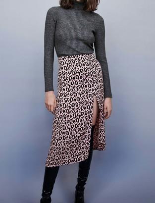 Maje Jacquard-printed split skirt