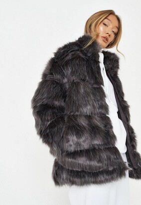 Missguided Gray Pelted Faux Fur Coat
