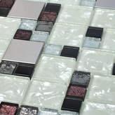 Giorbello Venetian Random Sized Glass and Aluminum Mosaic Tile in Palermo