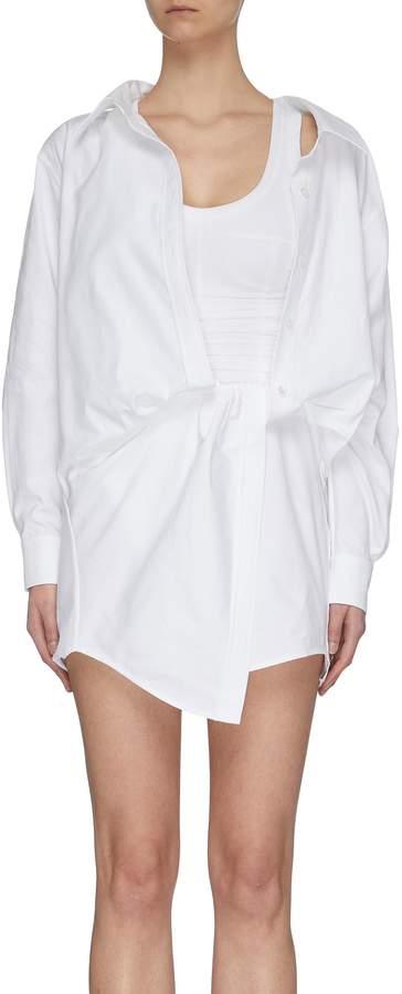 Alexander Wang Off Shoulder Drape Shirt Dress