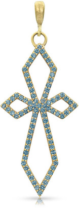 Dominique Cohen 18k Yellow Gold Blue Diamond Delicate Deco Cross Pendant