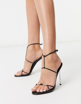 ASOS DESIGN Now metal trim t-bar heeled sandals in black