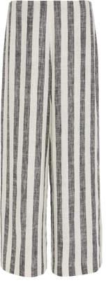 ST. AGNI Franco Striped Cropped Linen-Blend Pants
