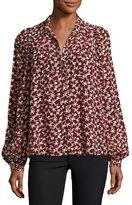 BA&SH Collin Button-Front Printed Long-Sleeve Top