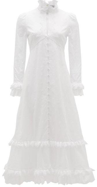 Erdem Miguella Cotton Broderie-anglaise Midi Dress - White
