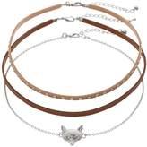 Men's Fox Studded Choker Necklace Set