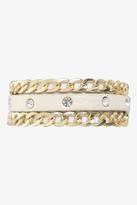 Torrid White Leather & Gold Chain Wrap Bracelet