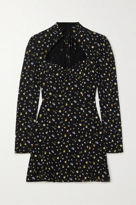 Reformation Vivianne Floral-print Georgette Mini Dress - Black