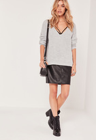 Missguided Grey V Neck Slouch Basic Sweater