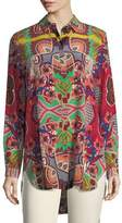 Etro Tropical-Paisley Print Button-Front Silk Tunic Shirt