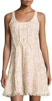 Jay Godfrey Shimmery Fit-and-Flare Tweed Dress, Blush Multi