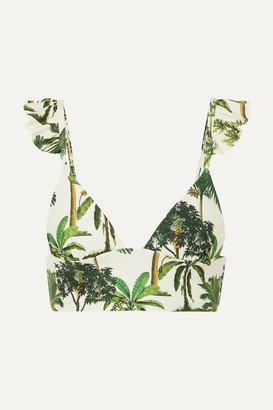 Agua Bendita Agua by Geranium Ruffled Printed Bikini Top - Green