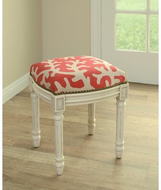 Rosecliff Heights Colleton Linen Upholstered Vanity Stool Color: Red