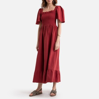 La Redoute Collections Linen Mix Maxi Dress with Short Puff Sleeves