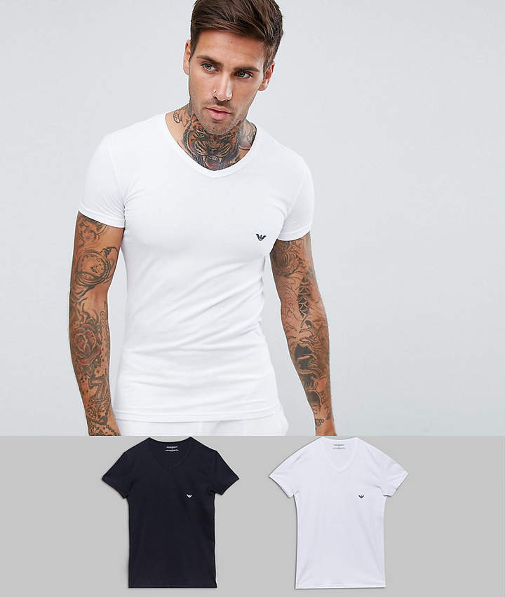 d6a9eed2 2 pack v neck logo lounge t-shirts in white and navy