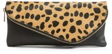 Sole Society Tamika Genuine Calf Hair & Faux Leather Foldover Clutch - Brown
